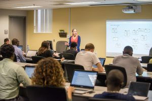 Professor showing students a network diagram in a classrom