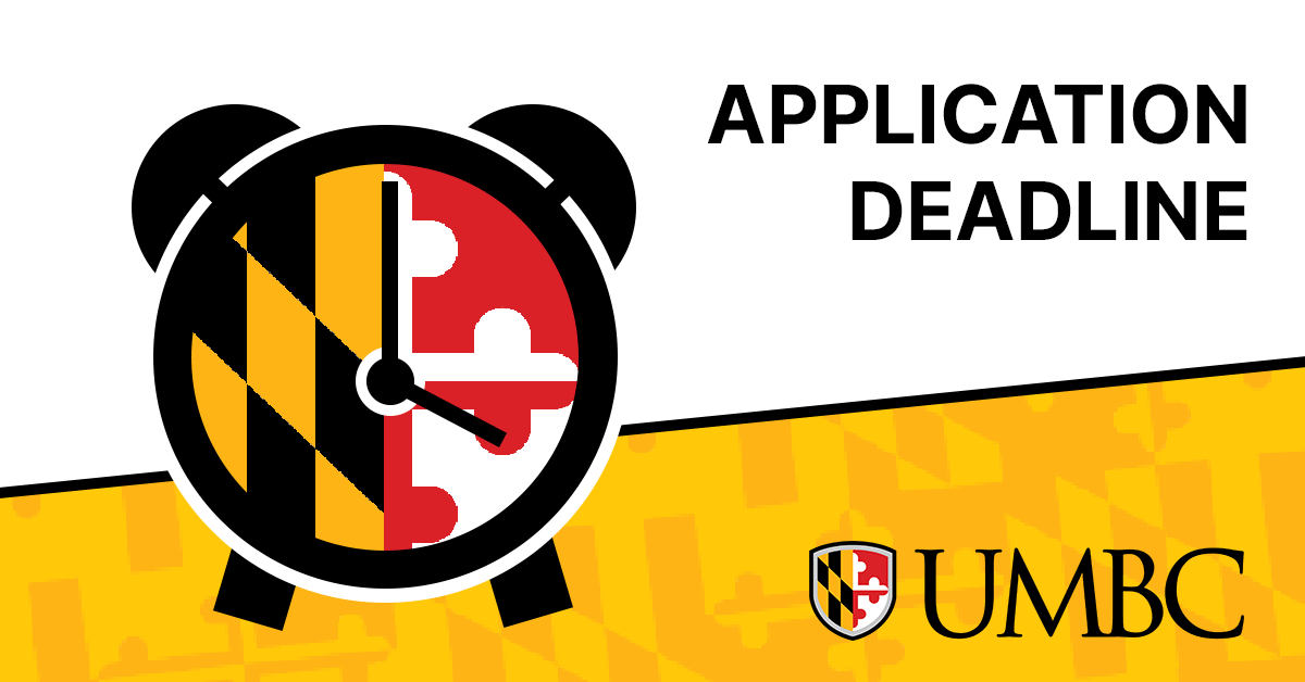 Text: Application Deadline next to a clock with a Maryland flag face.
