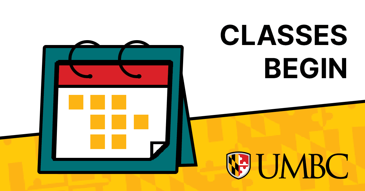 Image of a calendar next to black text on white background stating Classes Begin.